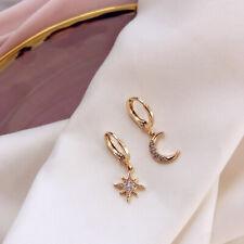 Hoop Women Crystal 1 Pair Drop Star Moon Rhinestone Huggie Earrings Dangle