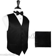 BLACK Solid Tuxedo Suit Dress Vest Waistcoat and Bow tie Hankie Set Prom Wedding