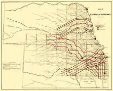 Old State Map - Kansas, Nebraska - USGLO 1865 - 23 x 28.77