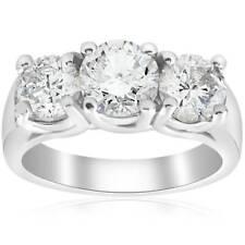 Diamond Engagement Ring 14K White Gold Enhanced 2 3/4 ct Three Stone Round Real
