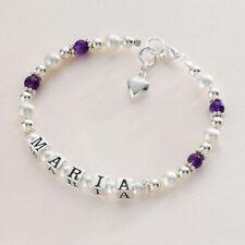 Personalisiertes Armband für Mädchen in Sterling Silber, Amethyst & Perlen,