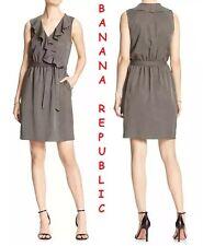 Banana Republic Tie-Waist Ruffle Wrap Shirt-Dress Sleeveless Olive New Dress