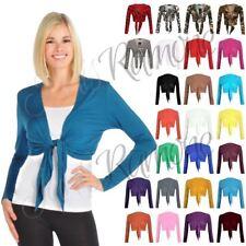 New Womens Plain Bolero Front Tie Shrug Ladies Cropped Long Sleeve Cardigan Top