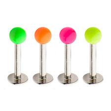 PIERCING LABRET néon diam 1.2 mm  6 Longueurs de tige et 4 couleurs de billes