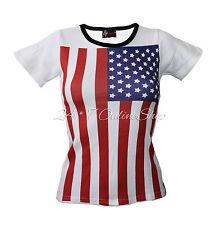 USA Drapeau à encolure ras-du-Cou Coton T-Shirt Tee