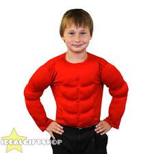 Red childs faux torse musclé rembourré shirt top kids fancy dress super héros