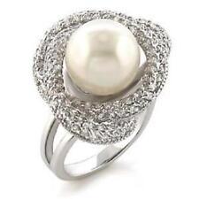 Z9W005PB Acqua dolce Perla & Pave Anello di Diamante simulate Qualità da Donna Vendita