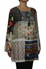 SAVE THE QUEEN Damen Tunika Sommer Bluse, Blusenkleid, 100% Seide, mehrfarbig.