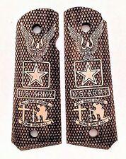 Colt 1911 custom engraved wood grips US Army Eagle Logo Cross