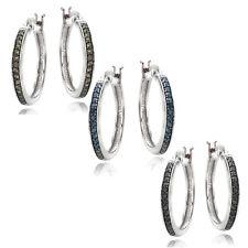 925 Silver 1/4ct Diamond Hoop Earirngs - 3 Colors