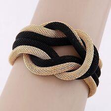 bracelet bijoux fantaisie tressé en argent or noir & Titan couleurs NEUF M19