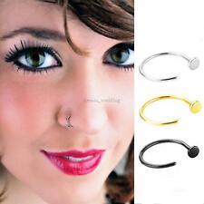 3pcs Stainless Open Septum Eyebrow Nose Lip Body Ring Stud Hoop Piercing 8/10mm