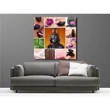 Tableaux toile déco carré Bouddha galet bougie 9042687