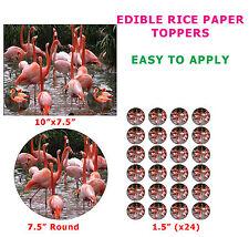 Flamingo Wading Bird Novelty Cake/Cupcake Topper Decoration On Edible Rice Paper