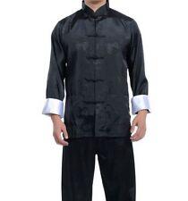 CH Black Burgundy blue Chinese men's silk kung fu suit pajamas SZ M L XL 2XL 3XL