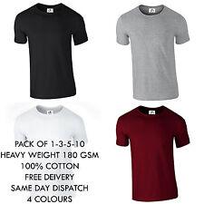 Mens Plain 100% Gift Cotton Rib Crew Neck Casual Short lot Sleeve T-Shirt XS-3XL