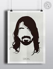 Dave Grohl (Foo Fighters) - Minimalista silueta cabeza mínimo Pared Arte Cartel
