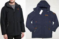 Columbia Men's Downward Dash Long Down Hooded Jacket, M / Black/Blue - $250 NWT!