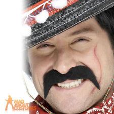 Mexican Tash Black Mens Western Bandit Moustache Fancy Dress Accessory New