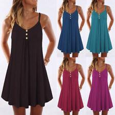 Women Plus Size Sleeveless Spaghetti Strap Double Breasted Beach Shift Dress CA