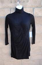 NWT Vera Wang Simply Vera Ruched Turtleneck Black Dress Petite PS & PL MSRP $58
