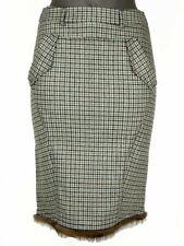 Gonna Blumarine Tg. 38 Quadri Marrone Petrol Lana Seta Made in Italy New Skirt