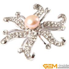 9-10mm Freshwater Pearl Silver GP Starfish Rhinestone Brooch Jewelry Gift 48mm