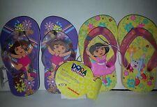 Girls Nickelodeon Dora the Explorer Yellow & Pink  Flip Flops Size 5/6 11/12