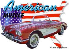 1959 Red Chevy Corvette a Custom Hot Rod USA T-Shirt 59 Muscle Car Tees