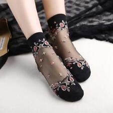 Transparent Thin Roses Women Lace Socks Crystal Glass Flower Silk Short Socks