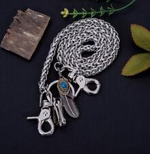 "30"" Silver Strong Twisted Feather Biker Trucker Keychain Jean Purse Wallet Chain"