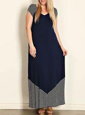 SPIN USA Plus Size (XL, 2XL, 3XL) Navy V-Neck Stripe Border Maxi Dress
