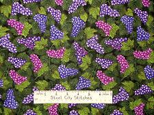 Grape Clusters Fruit Vines Corkscrew Through The Grapevine RJR Purple Fabric BTY