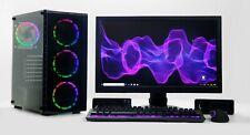 VETRO temperato RGB PC Da Gioco Set i5 SSD HDD RAM 4GB GTX 1650 Windows 10 WIFI