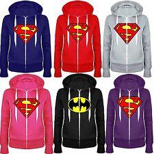 Kids Boys Girls Superman Batman Plain Hoody Zip Top Sweatshirt Jacket 7 13 Year