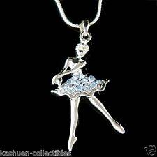 w Swarovski Crystal ~Blue BALLERINA~ Ballet Dancer Teacher Pendant Necklace Xmas