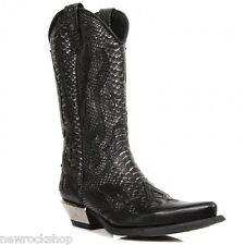 Newrock 7921 C2 New Rock Black Silver Leather  Western Snake Cowboy Biker Boots