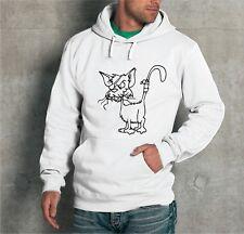 """FELPA CON CAPPUCCIO UNISEX """" BAD CAT """" CANE GATTO CATTIVO ANIMALI DOG UOMO DONNA"""