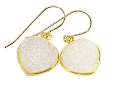 14k Gold Druzy Earrings White Heart Shape Bezel Large Drusy Sterling Silver Drop