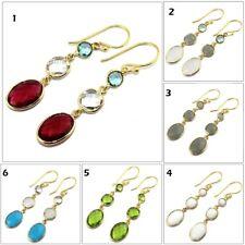 Best Triple Multi Shape Gemstone Gold Plated Drop Dangle Earring Fashion Jewelry