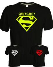 Tshirt Superdaddy nera cotone superman uomo regalo festa del papà simpatica