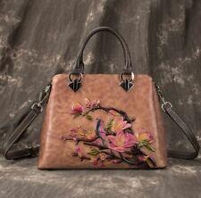 New Women Genuine Cow Leather Shoulder Messenger Bag Embossed Handbag Travel M