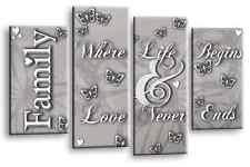 FAMILY LOVE QUOTE ART PICTURE POWDER GREY 4 PANEL SPLIT CANVAS WALL MULTI 112cm