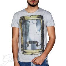 T-Shirt Uomo Mezza Manica Stampa Donna Quadro Girocollo Grigia Slim GIOSAL