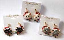 Christmas Cat w Santa Hat Dangle Post Earrings / Gold-tone / White ~ Black ~ Gra