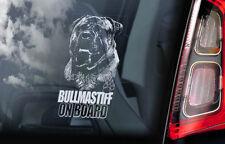 Bullmastiff on Board - Car Window Sticker - Bull Mastiff Dog Sign Decal - V03