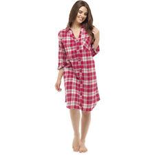 Ladies 3/4 sleeve Button Through Nightshirt Red Check Sizes 8/10,12/14,16/18