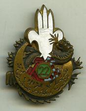 Insigne tirailleurs algériens , BM. / 22  RTA. - EO.