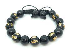 Zebredellas Onyx Shamballa Bracelet Om Mani Padme Hum Prayer Mantra Beads HM71