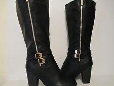 Top Moda Womens Rex-37 Knee-High Buckle Zip Chunky Heel Riding Boot Black 6 - 10